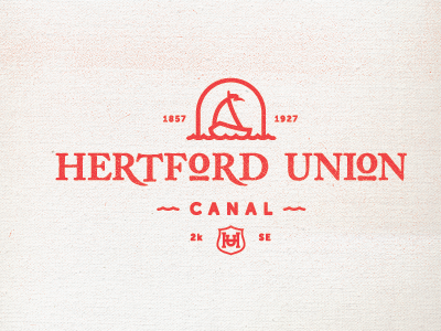Hertford Union Canal logo badge canal uk type monogram chain old water boots tunnel bridge shield waves