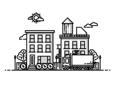 City icons illustration home water tower city building house