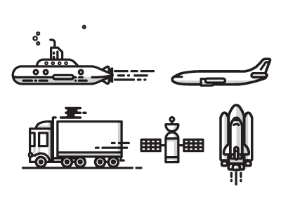 Transit Icons icons illustration submarine shuttle space plane jet transit truck icons satellite stars