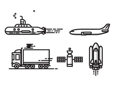 Transit Icons icons illustration submarine shuttle space plane jet transit truck icons satellite stars