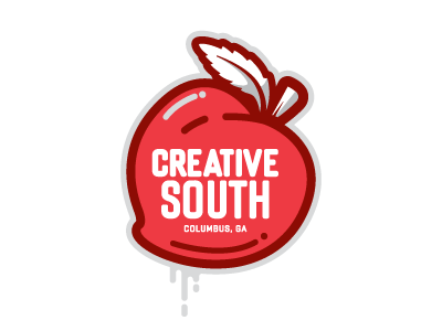 Creative South Badge peach logo badge sticker tee south fruit