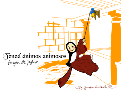 Teresa of Jesus ringing the bell discalced carmelites nun illustration digital art catholic vector art bell convent