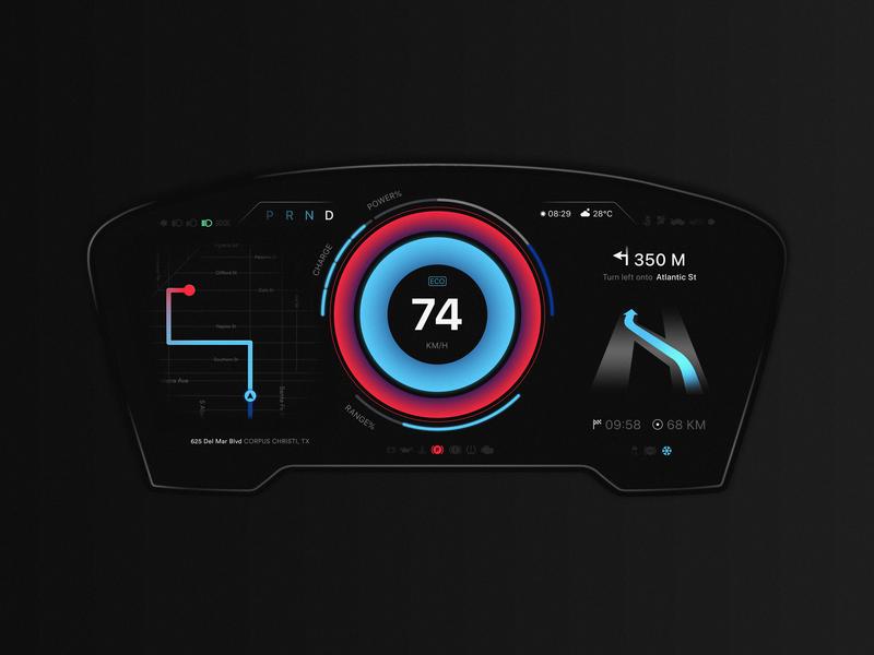 Digital Instrument Cluster minimal speed interface car ui vehicle auto dashboard hmi dark ui cockpit cluster car automotive