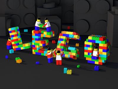 LEGO construction lego render icon design typography branding ui web illustration web illustration c4d cinema 4d cinema4d 3d art 3d