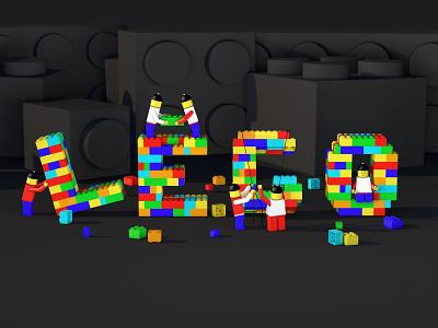 LEGO construction lego type branding web illustration web ui c4d cinema4d 3d art 3d