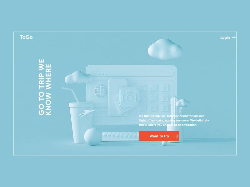Travel service main screen c4d 3d website webdesign concept ux uidesign user interface design ui