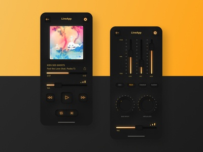Skeuomorph Music App Dark theme skeuomorph application music concept app webdesign uidesign user interface design ui ux