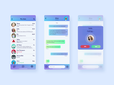 Messenger UI overlay messenger app uidesign user interface ui design
