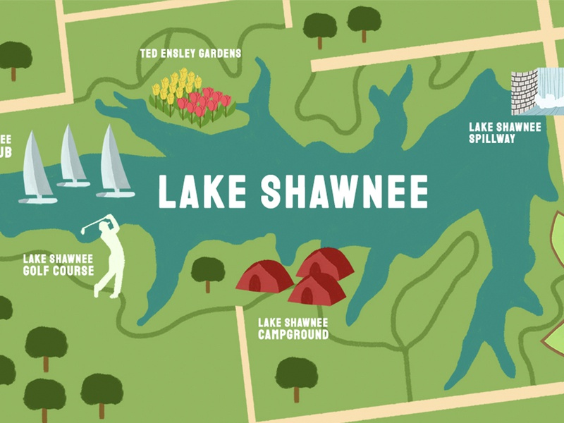 Lake Shawnee, KS Mural Concept map illustration map mural photoshop design illustration