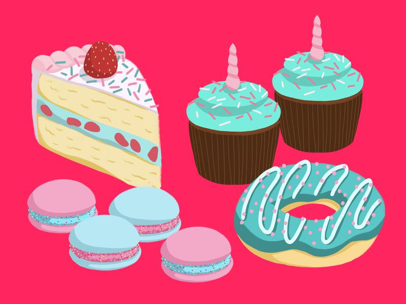 Unicorn Desserts desserts foodillustration aftereffects photoshop design illustration
