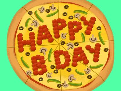 Birthday Pizza! pizza illustration pizza illustrator photoshop foodillustration design illustration