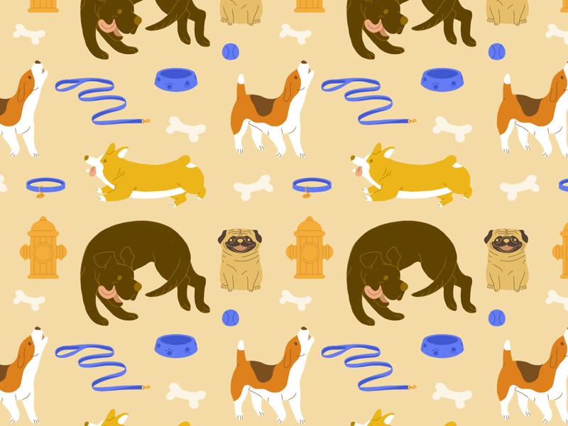 Dog Pattern dog illustration dogs pattern pattern design surfacedesign design illustration