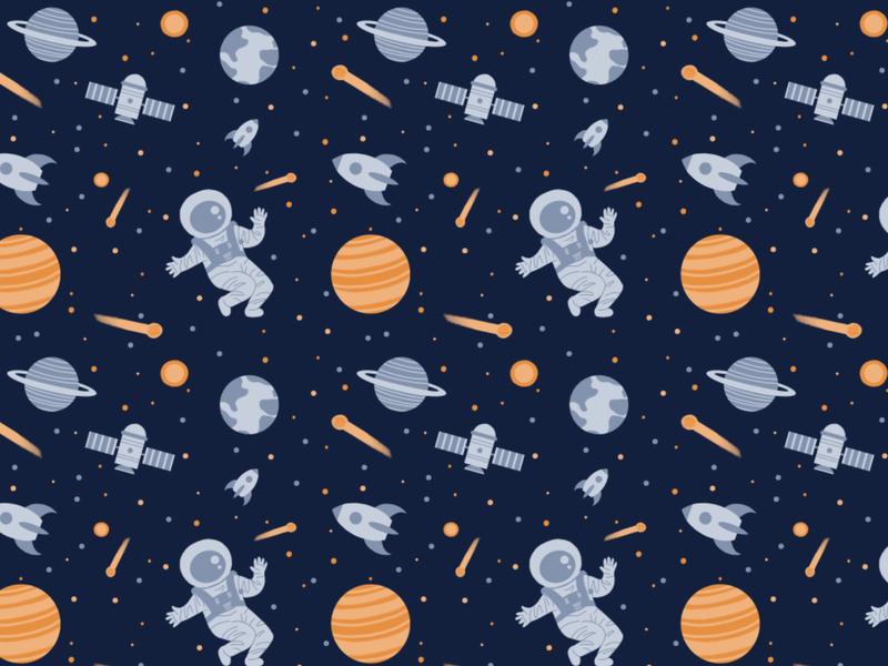 Space Pattern! space illustration science illustration stars rocket planets comet spaceship illustrated pattern pattern science spaceman space surfacedesign design illustration