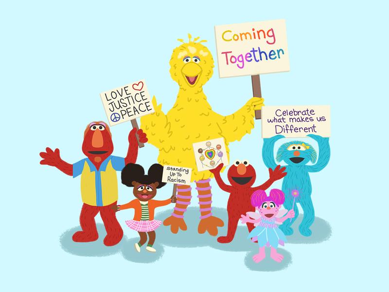 Sesame Street Coming Together childrens illustration cnn fanart protest sesame street design illustration