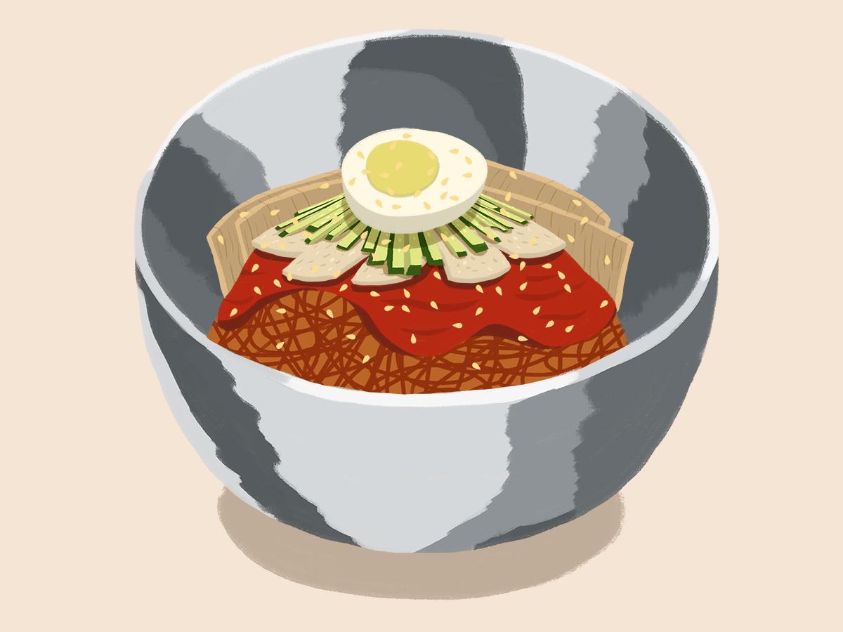 Bibim Naengmyeon koreanfoodillustration asiannoodles asianfood foodillustration bibimnaengmyeon koreanfood illustration