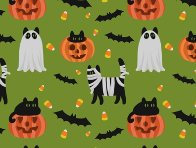 Halloween Black Cat Pattern