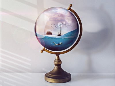 Magical Glass Globe sun waves glass sunlight illustration globe photoshop