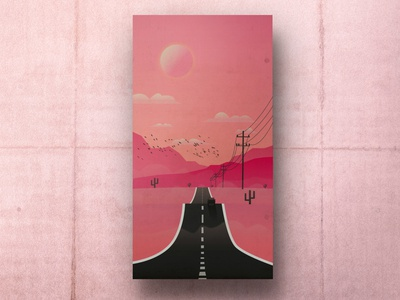 On the Road colors stars moon desert road poster illustration illustrator photoshop