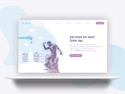 Landing page concept - Drinkful / Tap water landingpage branding ux uxdesign ui design concept