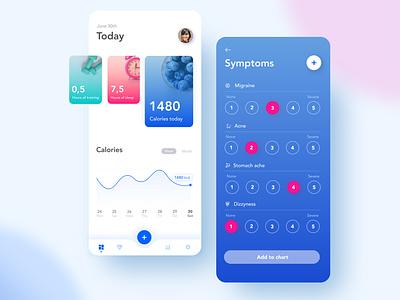 Health & symptom analyzing app uxdesign care symptoms health chart mobile mobile app ux ui design