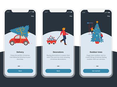 Christmas tree app 🎄 figma mobile ui vector illustration mobile application christmas tree christmas onboarding ui onboarding screens onboarding app ux concept ui design