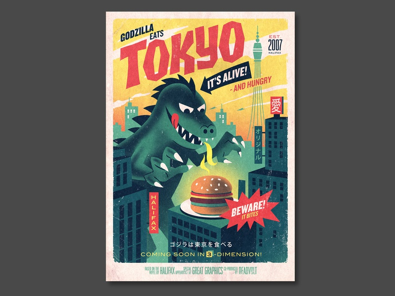 Halifax Burger Restaurent print poster design typography illustration
