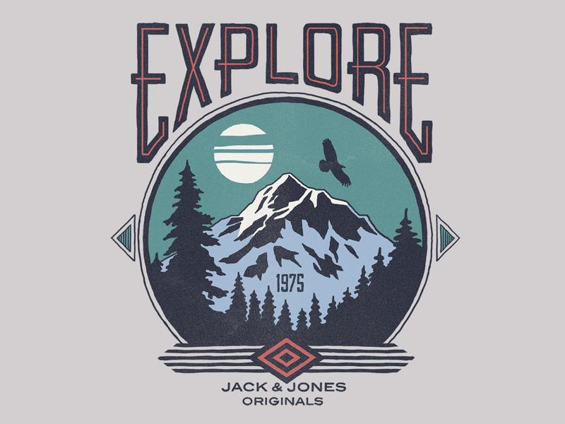 Explore themed graphic apparel print typography illustration
