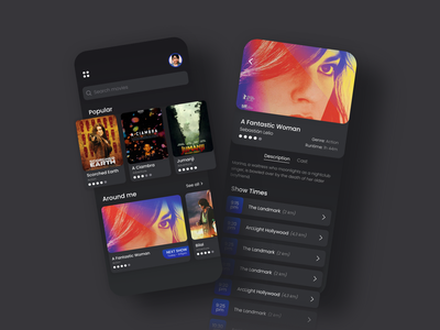 Movies Show Time App around me popular table view cards ratings cast film show time purchase movie cinema minimal ios flat gradient app ux ui