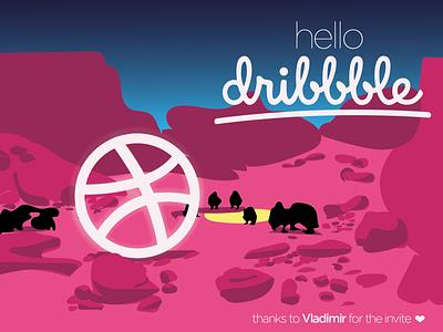 Hello Dribbble! gradient background first shot cinema gradient flat vector design illustration