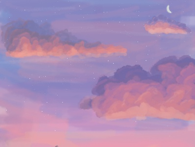 Summer Dusk chill mood blue orange purple painting sketch dark clouds photoshop sky design stars night moon dusk illustration