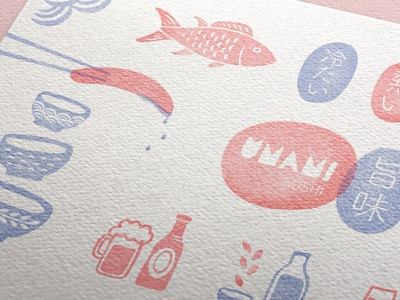 Umami Sushi layout sushi menu japanese illustration branding brand design typogaphy vector graphic design menu design