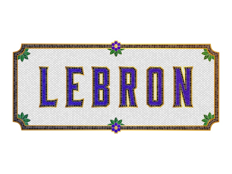 LeBron's Bistro basketball nba lebronjames lebron sign cafe bistro tile mosaic typogaphy vector graphic design