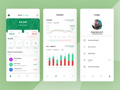 Daily Savings - Income and Expenses App Design ui uidesign balance transaction history transactions reports finance expenses income design app app design app