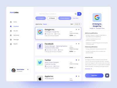 HuntJobs - Job Search Dashboard dashboard design ux ui job listing company dashboard jobhunter jobseeker job search uidesign
