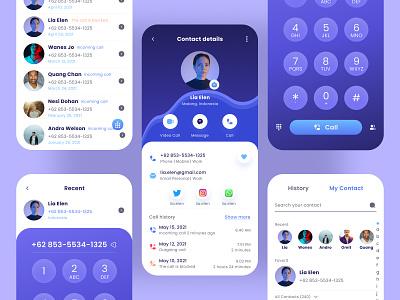 Contact Book App mobile app design app uiux ui uidesignchallenge uidesigns cleandesign uidesign designui contact callview contactappdesign contactbookapp