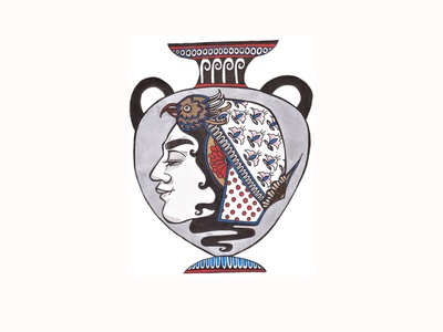 Amphora art nouveau woman victorian era victorian bird headdress illustrator drawing india ink micron pen helmet amphora sharpie fabercastell portrait ceramic pottery greek pottery vase