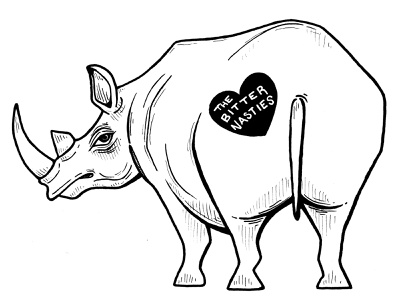 Logo for The Bitter Nasties Band analog photoshop animals illustrated animal logo animal art animals faber castell design logo micron pen india ink illustration rhinoceros rhino