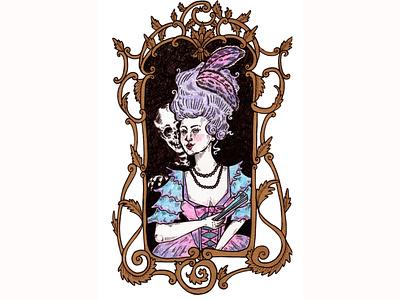 Rococo Mirror mixed media mirror mirrors vintage skeleton skull rococo woman rococo crayons crayon crayola faber castell micron pen design india ink illustration