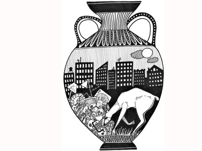 All The Humans Are Dead! greece antiquity antique vase amphora deer illustration deer design analog architecture faber castell india ink micron pen editorial illustration illustration