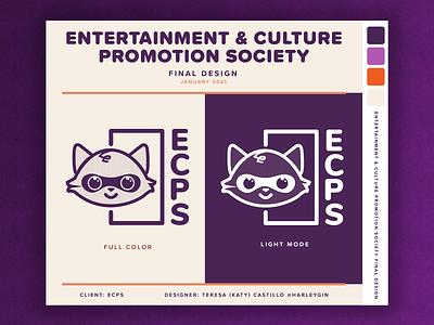 ECPS Logo - Entertainment & Culture Promotion Society convention orange purple raccoon illustration logo design otaku manga japanese culture japan anime