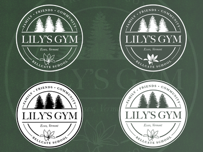 Bellcate School - Lily's Gym Logo circle emblem gym logo trees vermont school