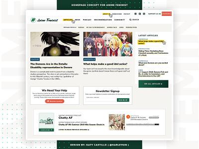 Anime Feminist Website ReDesign japan design otaku manga japanese culture anime