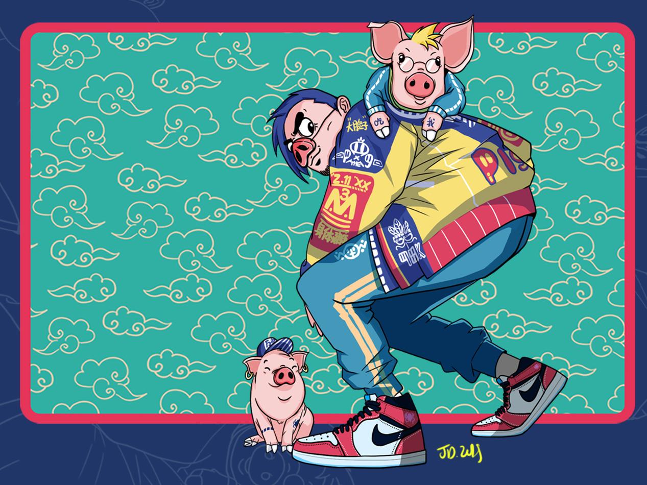 Hello Dribbble! air jordan china new year 2019 design illustration