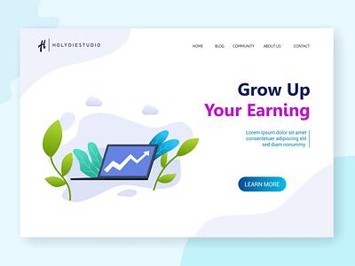 Grow Up Your Earning Landing Page community bussiness website web design vector ui illustrator illustration flat