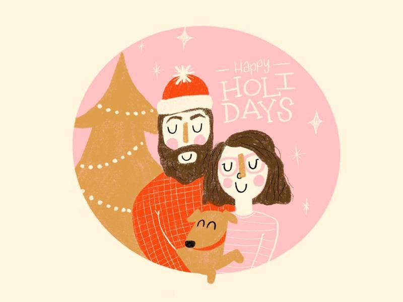 Happy Holidays procreate illustration card christmas holidays holiday card