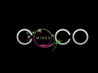 Coco Wines illustration branding vector design logo