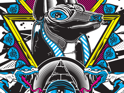 """Weighing Your Chances"" masonic anubis serpant cmyk allseeing vector illustration"