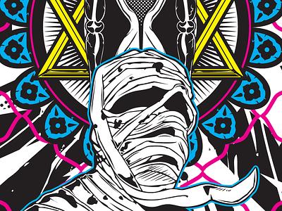 """Ka - ba - akh"" cmyk illustration masonic mummy vector poster hourglass pentagram graphic design time spirit"
