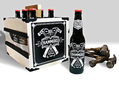 Box of Hammers Branding and Packaging packaging branding beer logo handmade simple design illustrator photoshop bottle six pack
