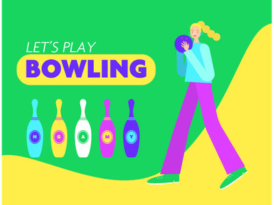 Let's play Bowling funny character characterdesign uxui vector youth illustration flatdesign illustrations illustrator young
